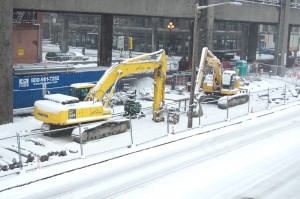 Construction Site in the Snow